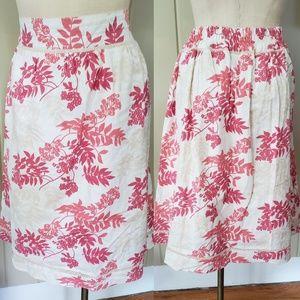 Denim & Co.   midi skirt. Sz M pink, cream, tam